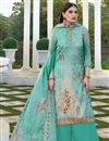 image of Cyan Color Festive Wear Elegant Printed Cotton Silk Fabric Palazzo Dress