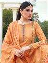 photo of Elegant Festive Wear Cotton Silk Fabric Orange Color Printed Palazzo Suit