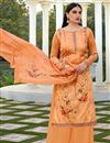 image of Elegant Festive Wear Cotton Silk Fabric Orange Color Printed Palazzo Suit