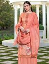 image of Peach Color Festive Wear Elegant Printed Cotton Silk Fabric Palazzo Dress