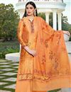 image of Cotton Silk Fabric Orange Color Festive Wear Elegant Printed Palazzo Dress