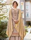 image of Classic Chikoo Color Festive Wear Embroidered Art Silk Fabric Palazzo Suit
