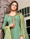 photo of Sea Green Color Festive Wear Classic Embroidered Art Silk Fabric Palazzo Dress
