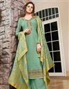 image of Sea Green Color Festive Wear Classic Embroidered Art Silk Fabric Palazzo Dress