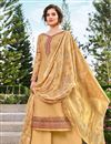 image of Classic Yellow Color Festive Wear Embroidered Art Silk Fabric Palazzo Suit