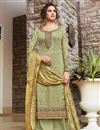 image of Classic Art Silk Fabric Festive Wear Sea Green Color Embroidered Palazzo Suit