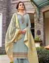 image of Light Cyan Color Art Silk Fabric Festive Wear Classic Embroidered Palazzo Dress