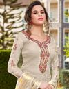 photo of Classic Festive Wear Off White Color Art Silk Fabric Embroidered Palazzo Suit