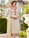 image of Classic Festive Wear Off White Color Art Silk Fabric Embroidered Palazzo Suit