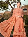 image of Georgette Fabric Sangeet Wear Classic Printed Palazzo Dress In Peach Color