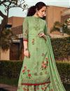 image of Sea Green Color Sangeet Wear Classic Printed Georgette Fabric Palazzo Dress
