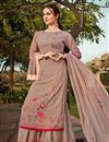 image of Classic Chikoo Color Sangeet Wear Printed Georgette Fabric Palazzo Suit