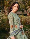 photo of Classic Sangeet Wear Georgette Fabric Printed Palazzo Suit In Light Cyan Color