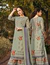 image of Classic Sangeet Wear Georgette Fabric Printed Palazzo Suit In Light Cyan Color