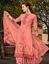 image of Georgette Fabric Sangeet Wear Classic Printed Palazzo Dress In Pink Color