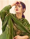 photo of Green Color Casual Wear Classic Printed Pashmina Fabric Palazzo Dress
