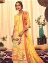image of Classic Yellow Color Festive Wear Printed Pashmina Fabric Palazzo Suit