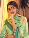 photo of Sea Green Color Festive Wear Classic Printed Pashmina Fabric Palazzo Dress