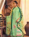 image of Sea Green Color Festive Wear Classic Printed Pashmina Fabric Palazzo Dress