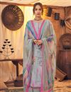image of Classic Pashmina Fabric Festive Wear Grey Color Printed Palazzo Suit