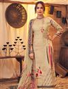 image of Classic Festive Wear Beige Color Pashmina Fabric Printed Palazzo Suit