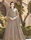 image of Dark Beige Color Georgette Fabric Embroidery Work Function Wear Fancy Anarkali Suit