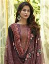 photo of Wine Color Cotton Fabric Fancy Printed Casual Wear Palazzo Suit