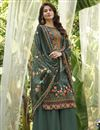 image of Cotton Fabric Stylish Printed Daily Wear Palazzo Salwar Suit In Green Color