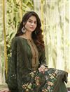 photo of Trendy Printed Office Wear Palazzo Salwar Kameez In Mehendi Green Color Cotton Fabric