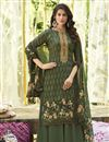 image of Trendy Printed Office Wear Palazzo Salwar Kameez In Mehendi Green Color Cotton Fabric