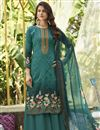 image of Cyan Color Cotton Fabric Simple Printed Casual Wear Palazzo Suit