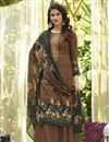 image of Cotton Fabric Printed Daily Wear Palazzo Salwar Suit In Brown Color