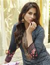 photo of Printed Office Wear Palazzo Salwar Kameez In Grey Color Cotton Fabric