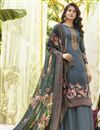 image of Printed Office Wear Palazzo Salwar Kameez In Grey Color Cotton Fabric