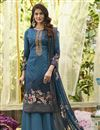 image of Cotton Stylish Printed Daily Wear Palazzo Salwar Suit In Blue Color