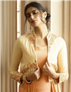 photo of Party Style Peach Color Designer Embroidered Readymade Gown In Fancy Fabric