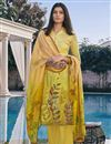 image of Yellow Color Casual Wear Fancy Printed Cotton Silk Fabric Palazzo Suit