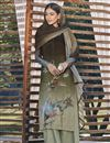 image of Cotton Silk Fabric Casual Wear Fancy Printed Dark Beige Color Palazzo Dress