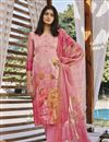 image of Cotton Silk Fabric Trendy Printed Office Wear Palazzo Dress In Pink Color