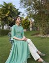 photo of Rayon Fabric Party Wear Fancy Sea Green Color Embroidered Kurti With Pant