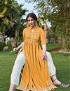 photo of Mustard Color Party Wear Rayon Fabric Fancy Embroidered Kurti With Pant