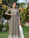 image of Fancy Party Wear Dark Beige Color Rayon Fabric Embroidered Kurti With Pant