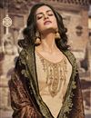 photo of Festive Wear Beige Color Chiffon Fabric Elegant Embroidered Palazzo Suit