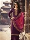 image of Festive Wear Purple Color Elegant Embroidered Palazzo Suit In Chiffon Fabric