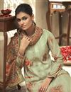 photo of Festive Wear Fancy Sea Green Color Printed Palazzo Suit In Satin Silk Fabric