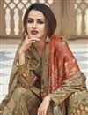 photo of Mehendi Green Color Party Wear Fancy Printed Crepe Fabric Palazzo Dress