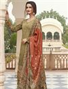image of Mehendi Green Color Party Wear Fancy Printed Crepe Fabric Palazzo Dress
