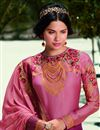 photo of Pink Color Fancy Embroidered Satin Georgette Fabric Salwar Suit