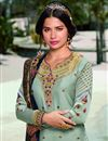 photo of Sea Green Color Fancy Embroidered Satin Georgette Fabric Salwar Kameez