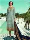 image of Sea Green Color Fancy Embroidered Satin Georgette Fabric Salwar Kameez